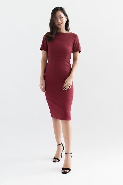 Payton Short Sleeve Sheath Dress (Red)