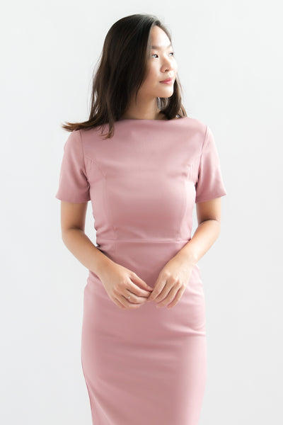 Payton Short Sleeve Sheath Dress (Pink)