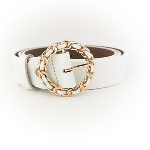 Gold Chain Buckle Belt (White)