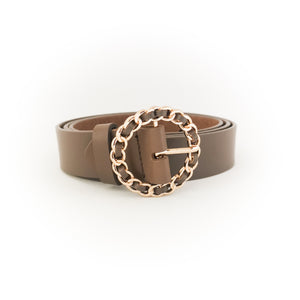 Gold Chain Buckle Belt (Brown)