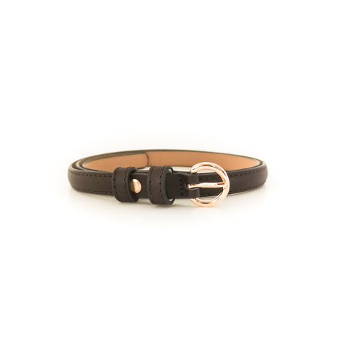 Gold Circle Buckle Belt (Brown)