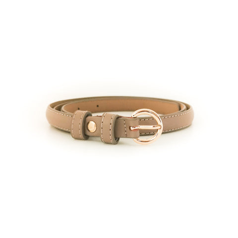 Gold Circle Buckle Belt (Beige)
