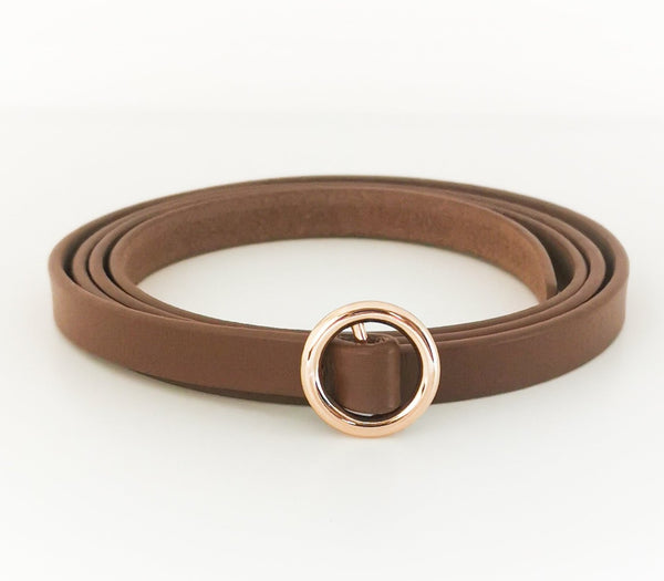 Loop Belt with Gold Buckle (Brown)