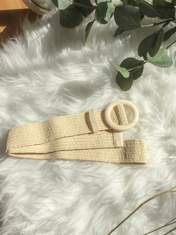Woven Belt With Wooden Buckle (White)