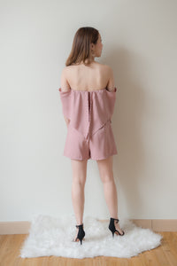 Off Shoulder Wrap Romper (Pink)