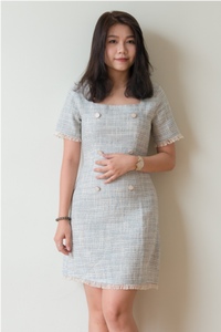 Tessa Frayed Hem Tweed Dress (Blue)