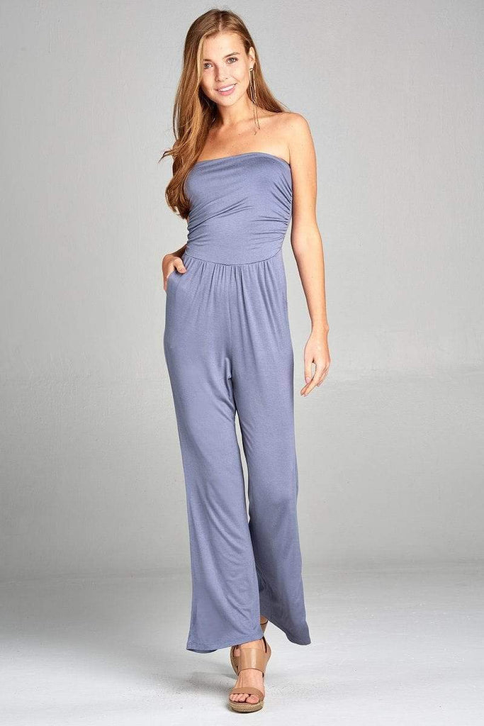 Ladies Fashion Tube Top Wide Leg Jumpsuit