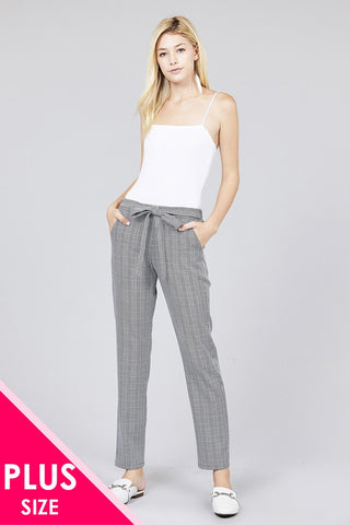Self ribbon detail checked woven ankle pants
