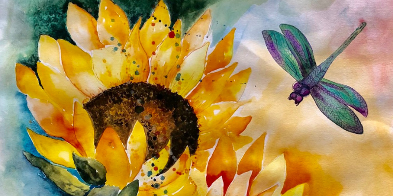 Sunflower watercolor painting Artezaar.com