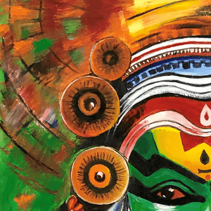 Oil Painting Kathakali Buy Now Artezaar Online Art Gallery in Dubai UAE