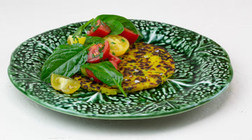 Potato Rösti with spinach and tomato salad