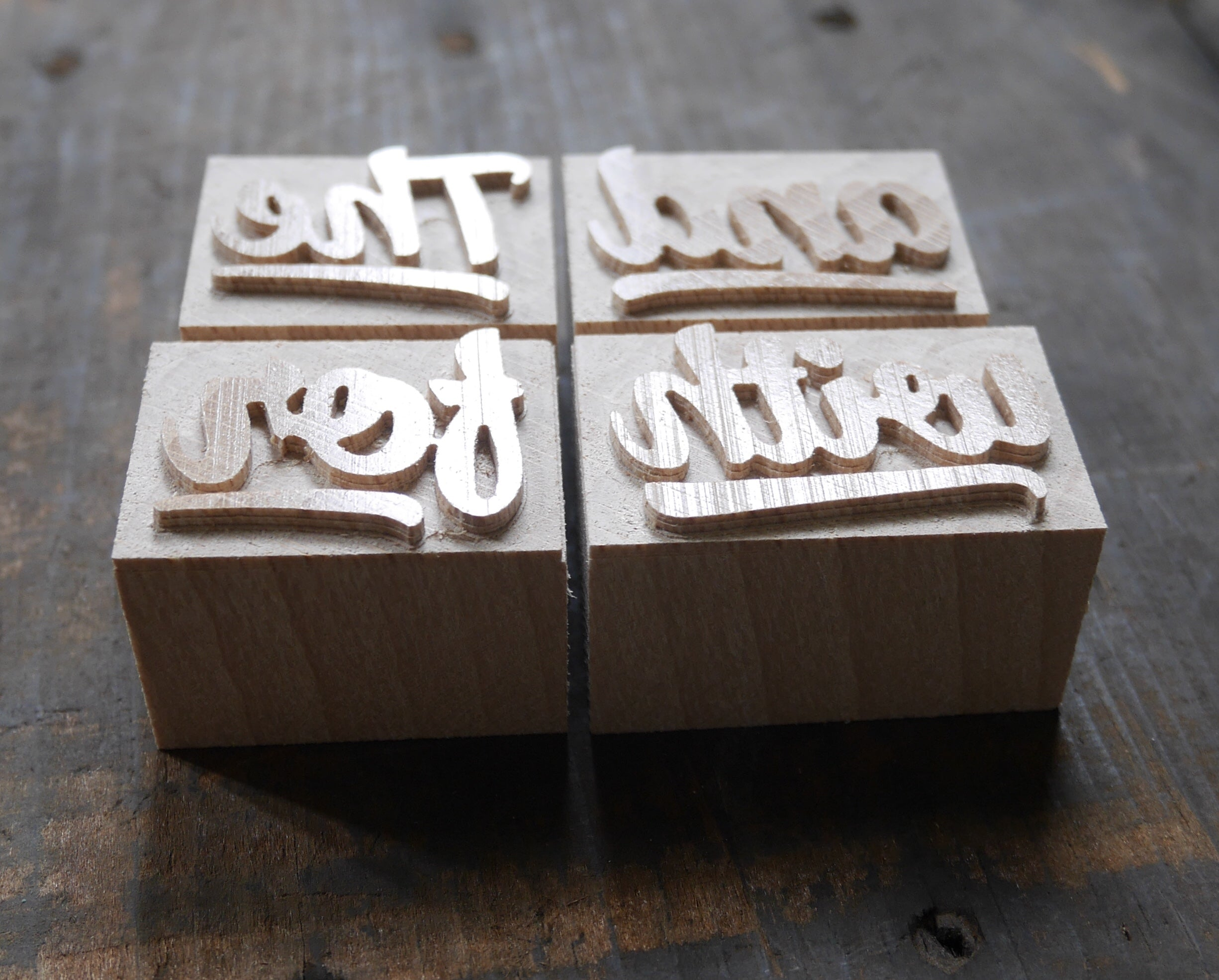 NEW Letterpress Catchwords - set of 4 - 6 line size