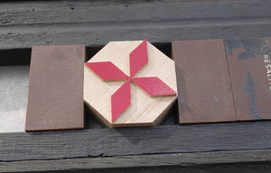 NEW Letterpress Octagonal block - chevron star design - 10 line size