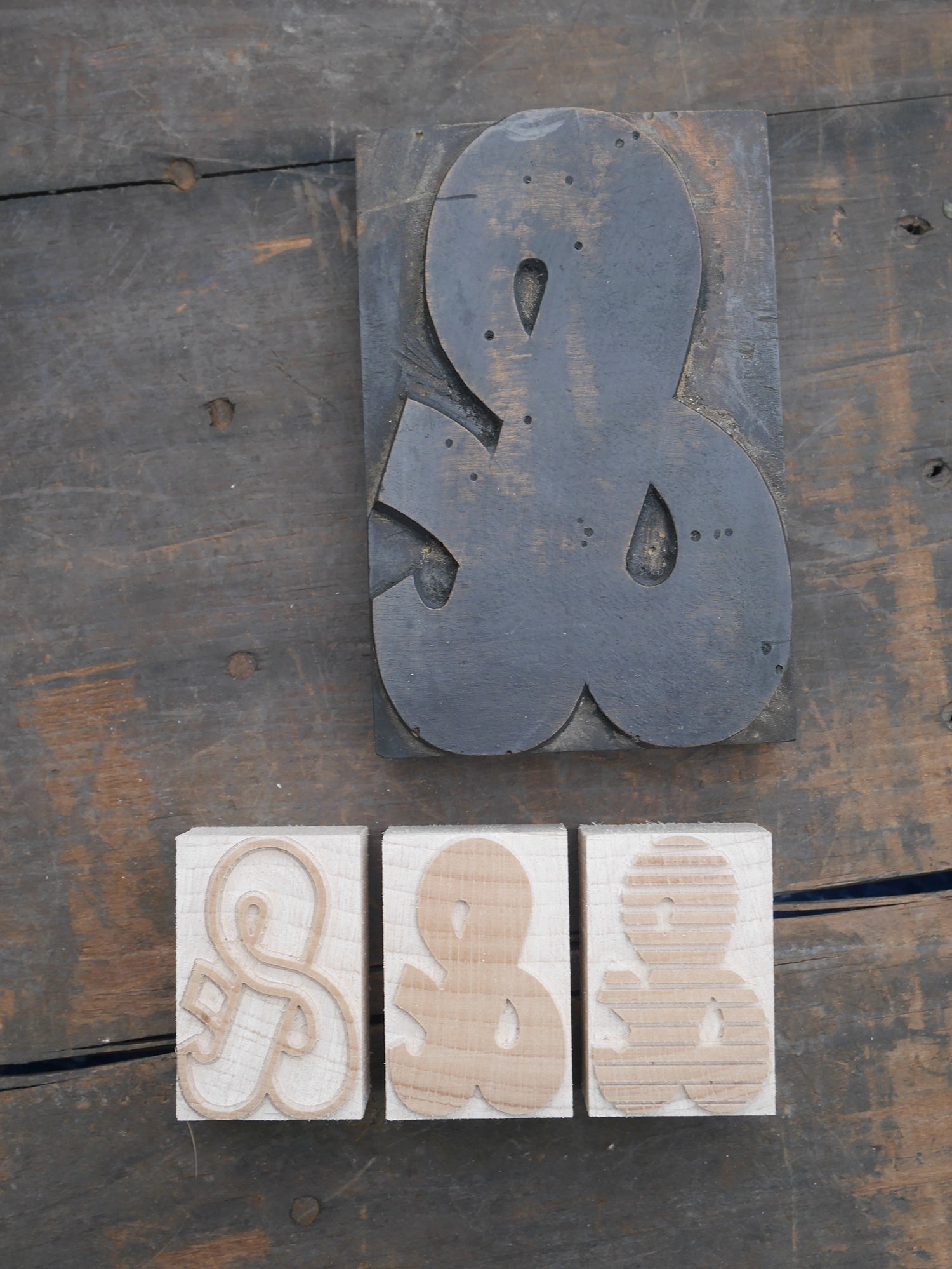 NEW Letterpress chromatic Bonnewell Ampersand - 3 block set - 12 line size