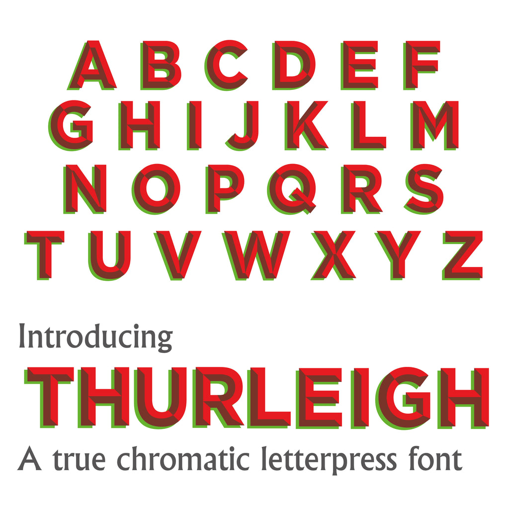 12 line 3A 'Thurleigh' 2 Colour, True Chromatic Letterpress woodtype typeface
