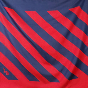 1980s Red and Navy Blue Striped Large Scarf