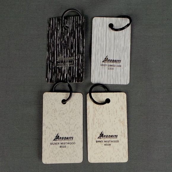 1960s Arborite Slice Wooden Small Keyrings, Monochrome Colours