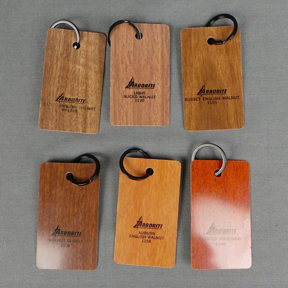 1960s Arborite Slice Wooden Small Keyrings, Red Colours