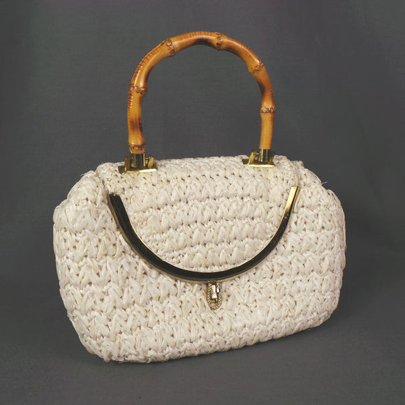 1950s White Raffia Bag with Bamboo Top Handle