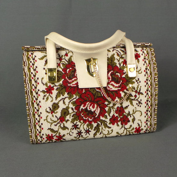 1960s Red Roses Chintz Tapestry Cream PVC Box Bag