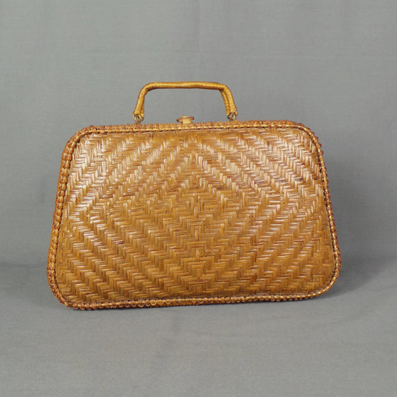 1950s Wicker Top Handle Basket Bag