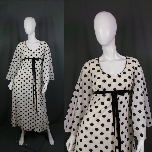 1970s White and Black Polka Dot Fluted Sleeve Maxi Dress, by Marisa, 38in Bust