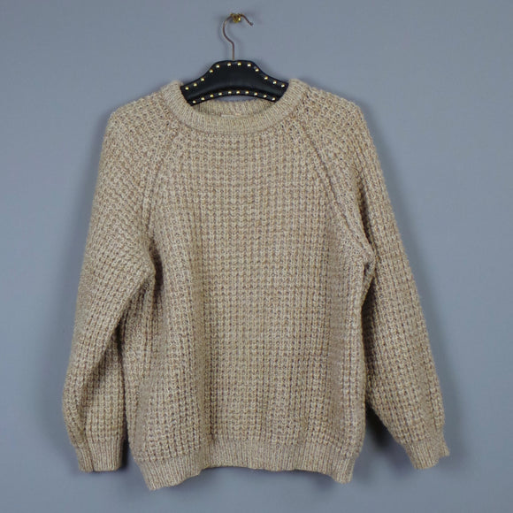 1960s Cream and Tan Marl Fisherman's Chunky Knit Jumper, by Harvanson, 46in Chest