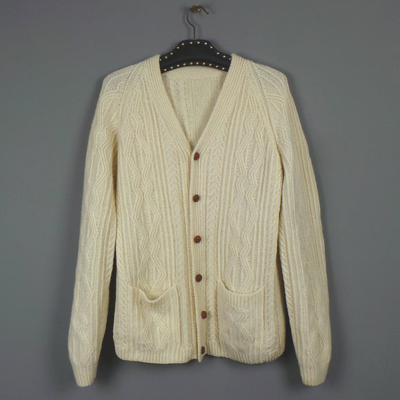 1970s Cream Aran Cable Knit Cardigan, 48in Chest