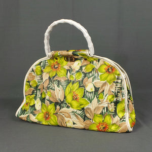 1950s Lime Green Tropical Flower PVC Bag with Bamboo Handles