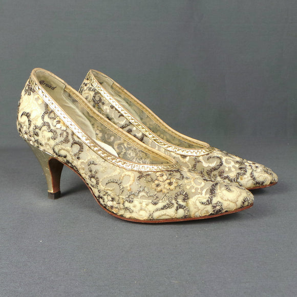 1950s Cream and Gold Embroidered Brocade Heel Shoes, by Van Dal, UK 2/3