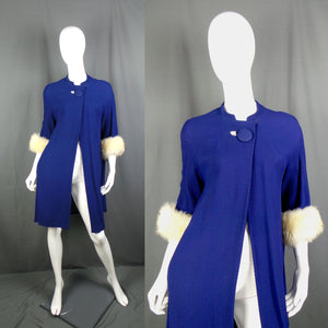 1950s Royal Blue Waffle Swing Coat with Cream Fur Cuffs, 38in Bust