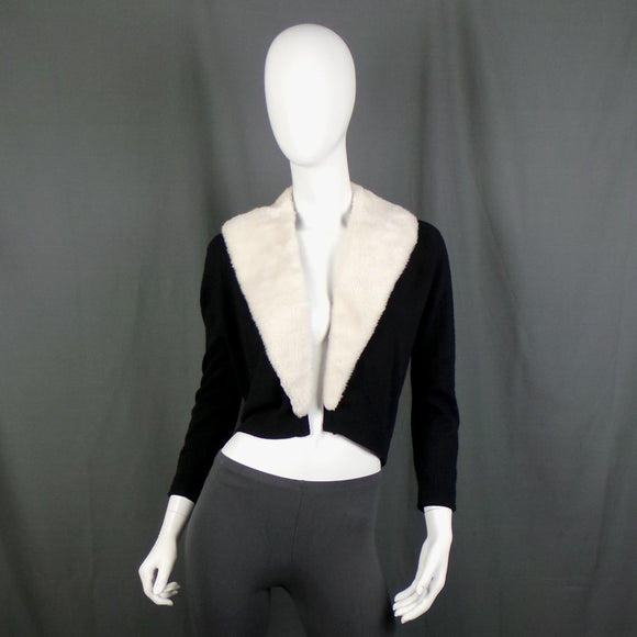 1950s Black Long Sleeve V-Neck Cardigan with Removable Cream Faux Fur Collar, 40in Bust