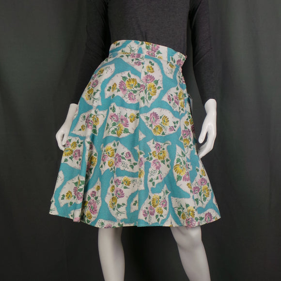 1950s Yellow and Pink Floral Print Aqua Skirt, by Little Pickle, 24in Waist