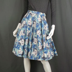 1950s Blue Falling Leaves Abstract Full Circle Skirt, 25in Waist