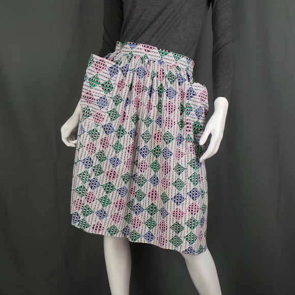 1950s Atomic Harlequin Diamond Cotton Skirt with Large Pockets, 26in Waist