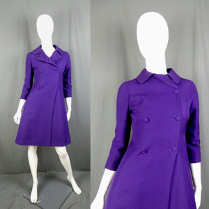 1960s Violet Double Breasted Princess Pea Coat, by Harrods, 33in Bust