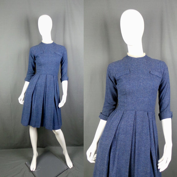 1950s Blue Marl Wool Full Skirt Dress with Rhinestone Trim, by Pam Rogers, 34in Bust