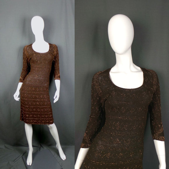 1950s Cocoa Brown Knit Wiggle Dress with Bronze Bead Embellishment, 34in Bust Max