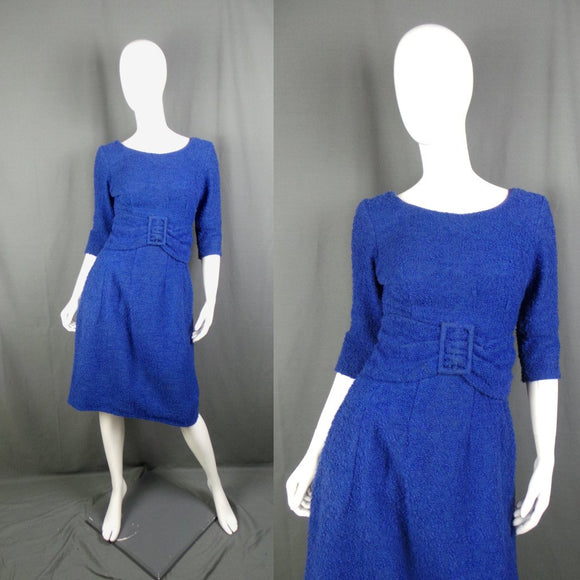 1950s Bright Cobalt Blue Wool Boucle Belted Dress, by Sambo, 36in Waist