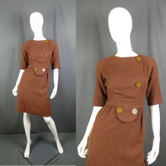1950s Cocoa Brown Wool Big Buttoned Wiggle Dress, by Sarah Black, 35in Bust