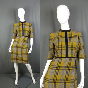 1950s Sage Green and Black Checked Bow Front Wiggle Dress, by Sambo, 38in Bust