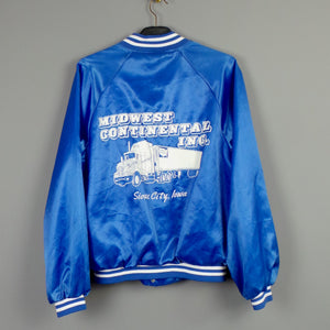 1980s Blue 'Midwest Continental' American Trucker Bomber Jacket, 44in Chest