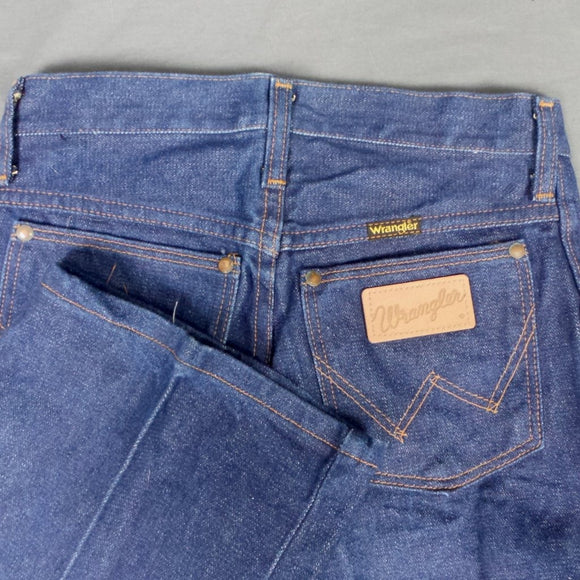 1960s Wrangler Blue Bell Deadstock Mid Wash Front Crease Denim Flares, 28in Waist