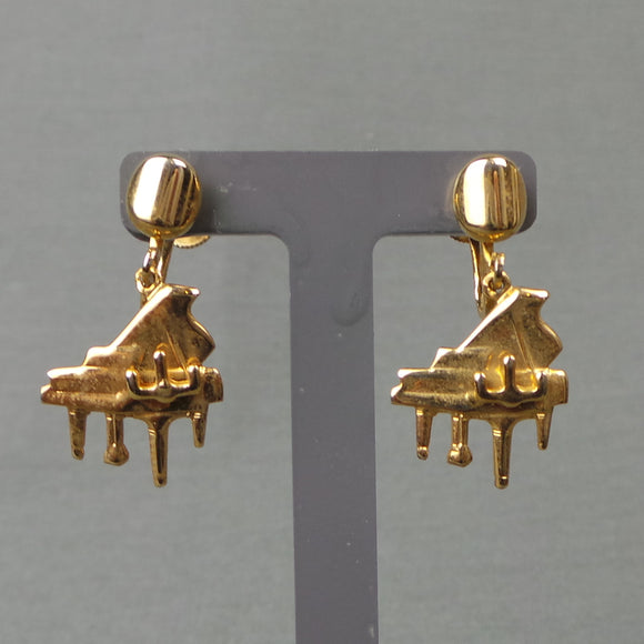 1960s Golden Piano Novelty Screw Back Earrings