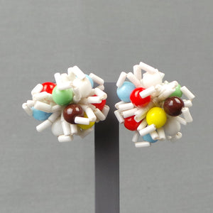 1950s Bright Atomic Cluster Beaded Clip On Earrings