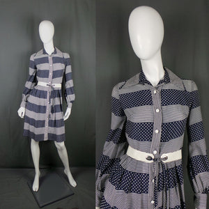 1970s Navy Blue and White Stripe and Spot Belted Shirt Dress, by Mortimer, 35in Bust
