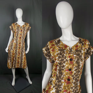 1950s Autumn Leaf Print Cotton Summer Dress, by Kenrose, 46in Bust