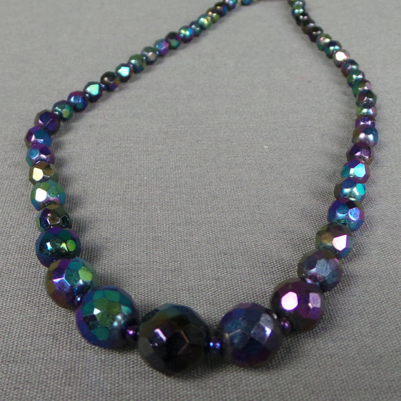 1950s Dark 'Oil Slick' Faceted Bead Necklace