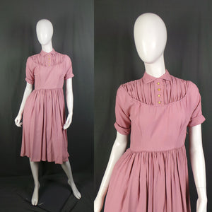 1950s Almond Pink High Collar Gathered Yoke Dress , by Jobi, 38in Bust