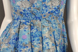 1950s Blue Painterly Floral Light Silk Collared Dress, 37in Bust